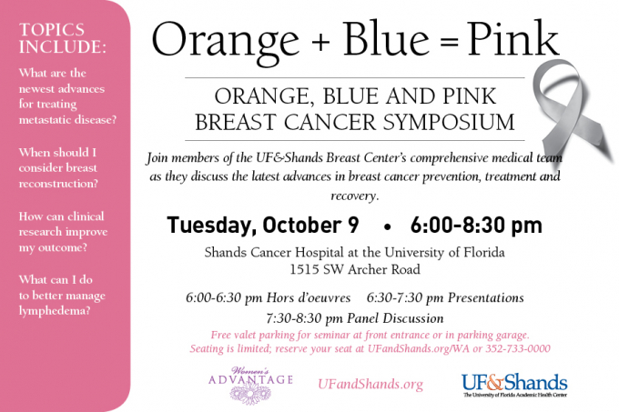 Announcement for Oct. 9, 2012 breast cancer symposium
